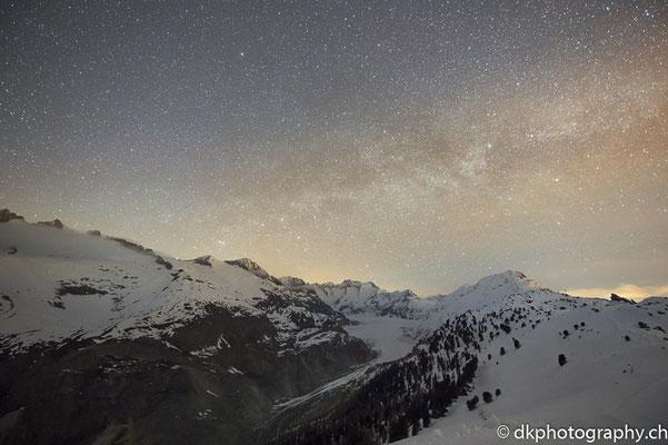 Milchstrasse über Grossem Aletschgletscher (CH). Bild-Nummer: 315