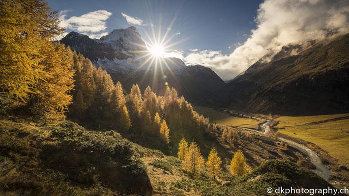Sonnenuntergang im Val Faller (Schweiz)