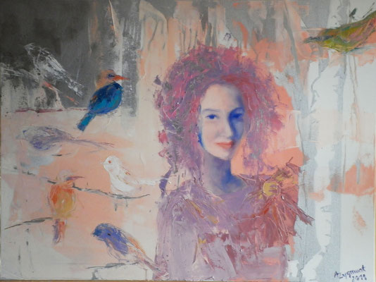 Woman with Birds, 2011. Oil canvas
