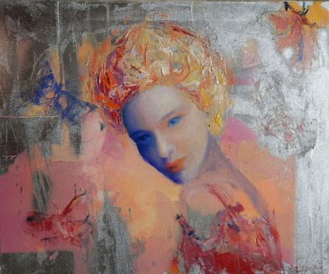 Woman with Butterflies, 2011. Oil canvas