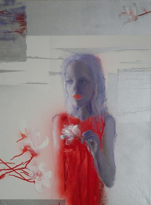 Woman with Magnolia, 2011. Oil canvas