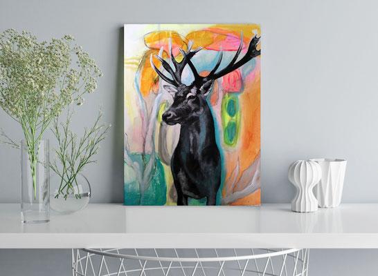 Kleines Gemälde Hirsch