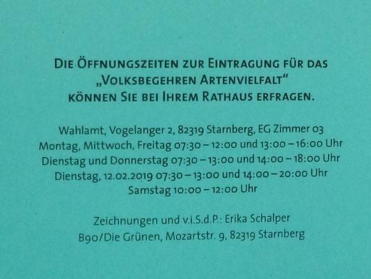 Vorlagen mit 7 verschiedenen Insekten können bestellt werden unter <starnberg@erika-schalper.de> - mit den Öffnungszeiten in Starnberg und mit der Möglichkeit, Öffnungszeiten anderer Gemeinden einzutragen