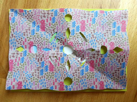 Geburtstagskarte Scherenschnitt, Probelegen