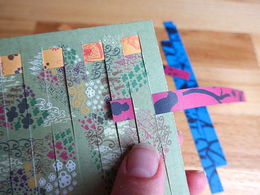 geburtstagskarte, papierstreifen weben, versetzt anfangen