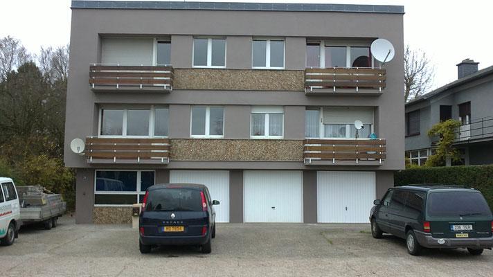 600m² gerüstbau mit Betonoberflächensanierung und anstrich der Fassade/Luxemburg