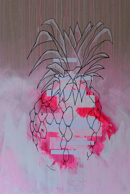 pink pineapple explosion - mixed media on canvas