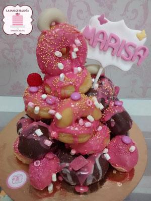 tarta de donuts, torre de donuts, dripcake