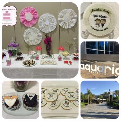 Mesa dulce boda en Cartagena. Candy bar boda en Cartagena. Galletas personalizadas de boda, macarons, cupcakes, cakepops, cookies, bagel, golosinas, decoracion blanca. La dulce ilsuion