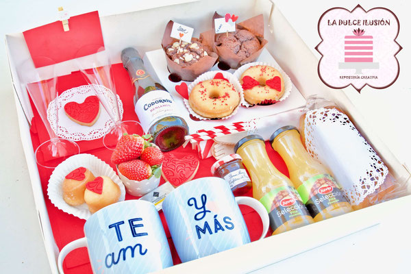 desayuno enamorados de san valentin para dos personas. Desayuno romantico a domicilio san valentin en cartagena, murcia