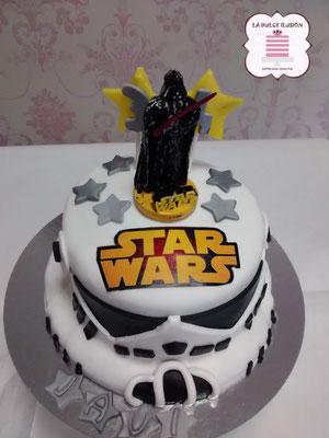 Tarta de fondant star wars. Tarta de cumpleaños star wars