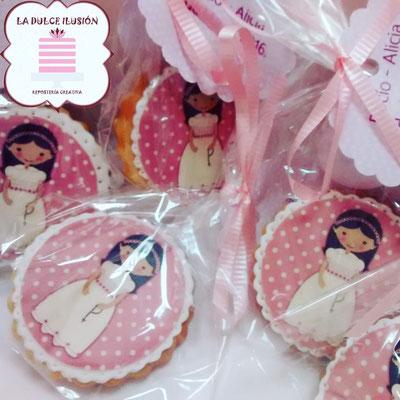 Galleta de niña de comunión. Galletas de comunión niña rosa. Galletas decoradas de comunión en cartagena, murcia, la dulce ilusion