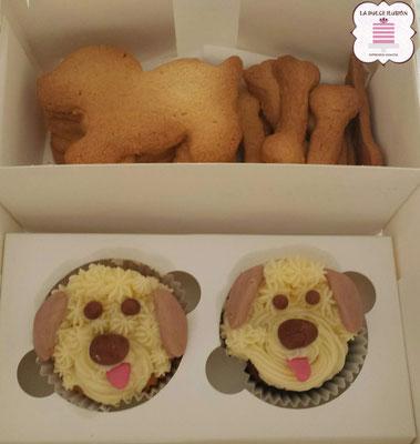 Cupcakes de perros, sabor vainilla. Cupcakes de animales personalizados en Cartagena, Murcia. Galletas de perros, sabor canela. Cookies de animales