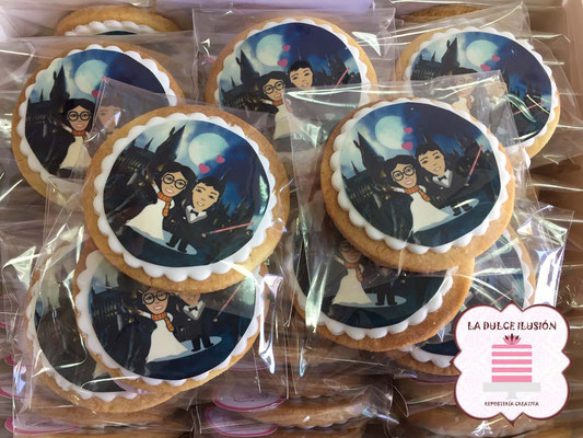 Galleta personalizada de Harry Potter. Galleta para boda de Harry Potter.