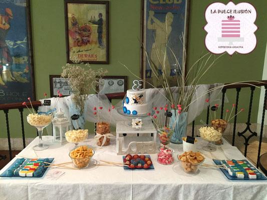 Mesa dulce en Cartagena. Candy bar boda en Cartagena. Tarta de boda, tarta en 3D, tarta los simpsons, cupcakes, cakepops, cookies, bagel, golosinas, sushi golosinas. La dulce ilsuion