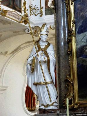 """Figur des Hl. Ildefons v. Toledo, einer der """"Kapläne Mariens"""""""