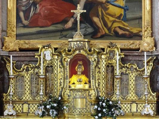 Silberbüste mit Hauptschale der Hl. Anastasia, Kloster Benediktbeuern