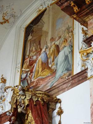 Seitengemälde Verehrung der Reliquie der Hl. Anastasia, Kloster Benediktbeuern