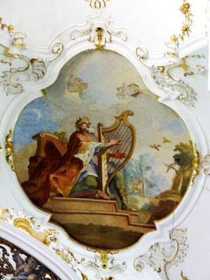 "Deckengemälde ""König David mit Harfe"""