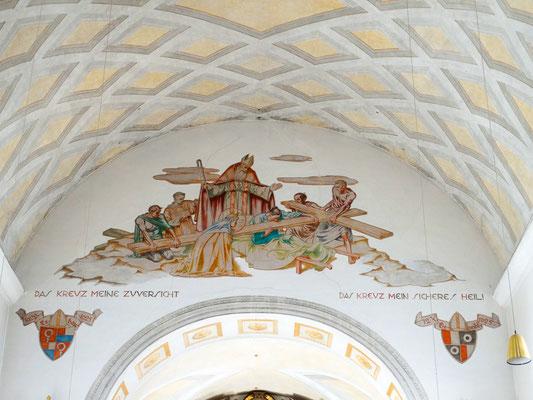Chorfresko Auffindung des Hl. Kreuzes durch Kaiserin Helena und Bischof Makarius