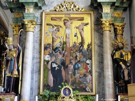 Gotische Kreuzigungsdarstellung am Sebastiansaltar