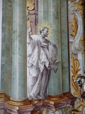 Hl. Franz Xaver links am Hochaltar, Wandmalerei von Johann Baptist Enderle