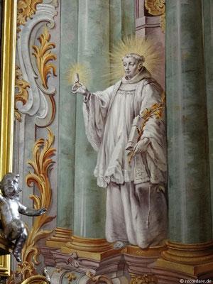 Hl. Antonius rechts am Hochaltar, Wandmalerei von Johann Baptist Enderle