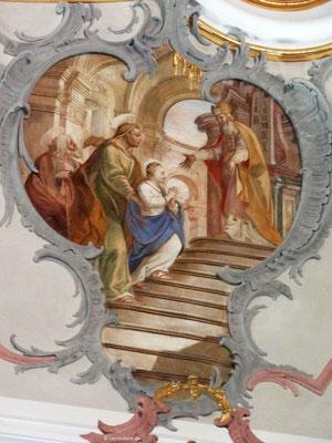 Maria wird von ihren Eltern in den Tempel gebracht