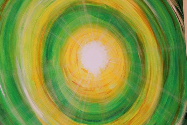 Lichtkreis grün,90x90 cm, 07/2012, Acryl auf Leinwand,                  280 Euro