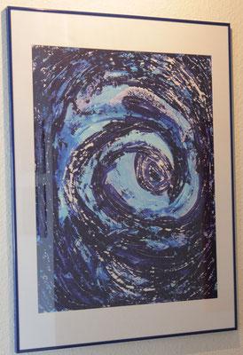 Blue Emotion, 70x100 cm, 07/2011, Acryl auf Papier, 500 Euro, verkauft