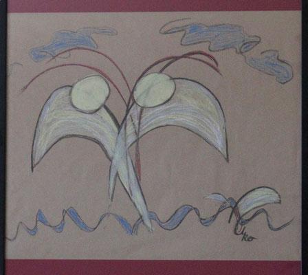 Begegnung mit Folgen, 70x70 cm, 09/2012, Kohle u. Wachs auf Papier, geführtes Zeichnen, 200 Euro