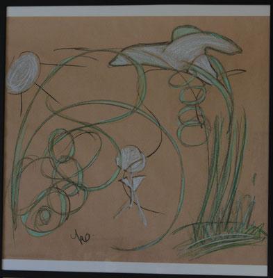 Verbindung, 70x70 cm, 09/2012, Kohle und Wachs auf Papier im Holzrahmen, geführtes Zeichnen, 200 Euro
