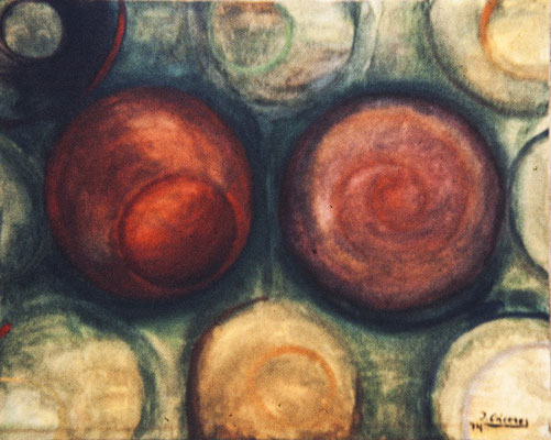 Círculos II. Pisa 1974. Óleo sobre lienzo. 50x100.