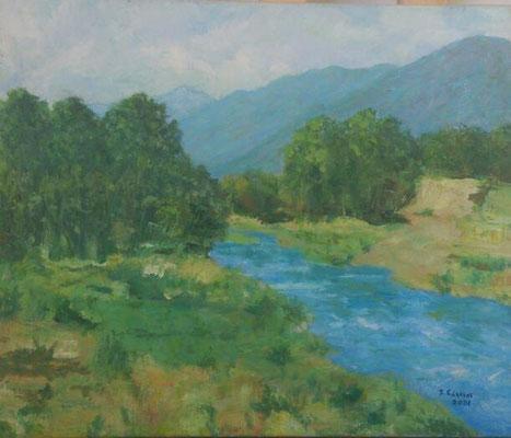 El río ambroz (el Soto), 2001. Óleo sobre tela, 46 x 38