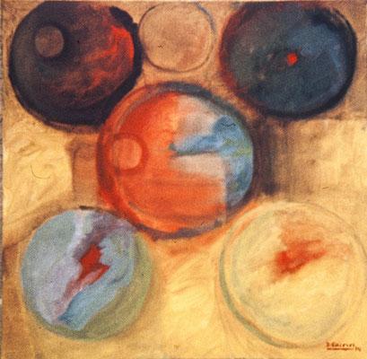 Círculos I. Pisa 1974. Óleo sobre lienzo. 50x50.