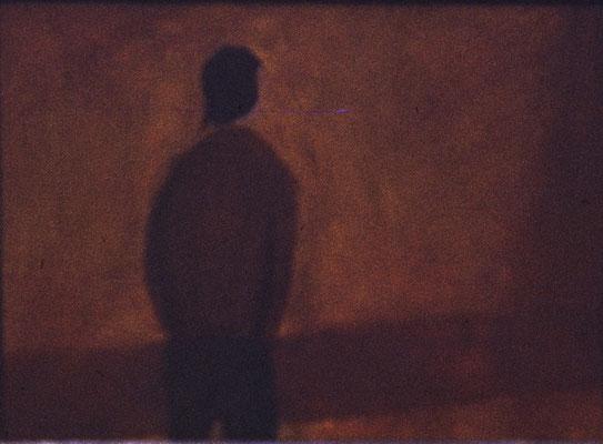 Joven de espaldas. Pisa 1975. Óleo sobre madera. 27,5x20.