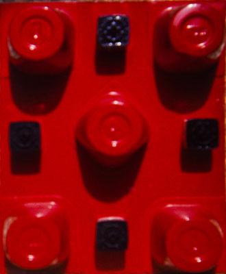 Sin título. Pisa 1975. Titanlux, botes de plástico sobre madera. 20x30. (Propiedad de Lorenzo Pallini, amigo de Pisa)