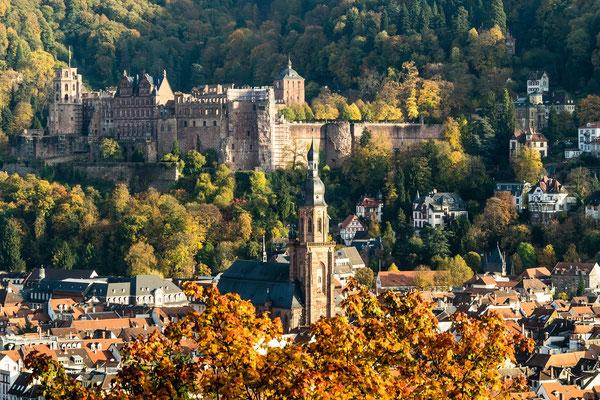 Blick vom Philosophenweg auf das Schloss.