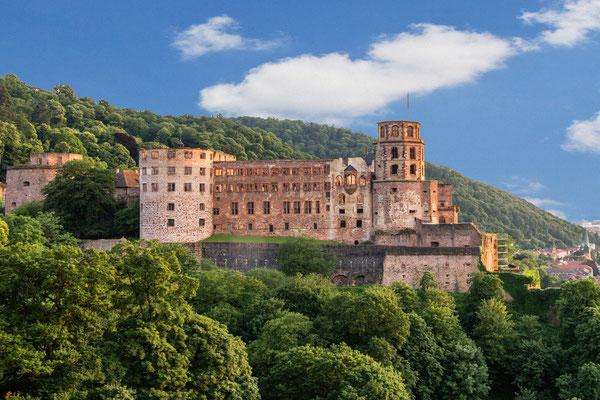 Blick von den Scheffelterrassen auf das Schloss.