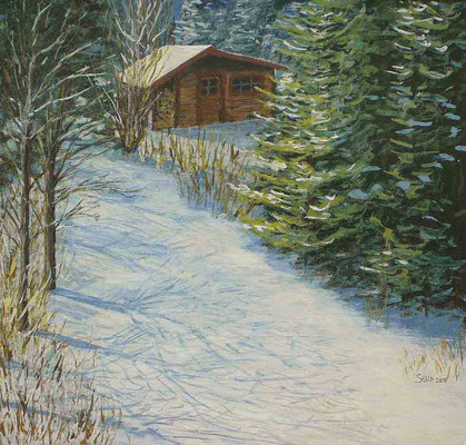 Hütte am Waldrand, 49 x 51 cm, 270 €