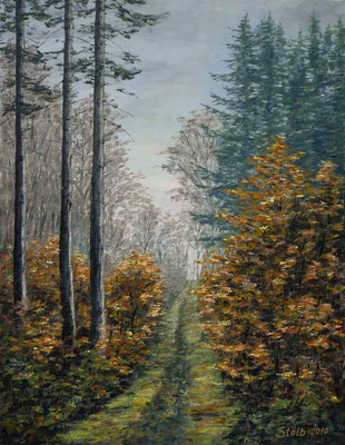 Grasiger Waldweg im November, 47 x 61 cm, 380 €
