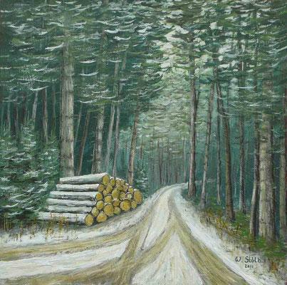 Holzstoß an einer Wegegabelung, 33 x 33 cm, 180 €