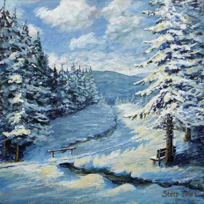 Wintertag im Bayerischen Wald, 30 x 30 cm, 200 €