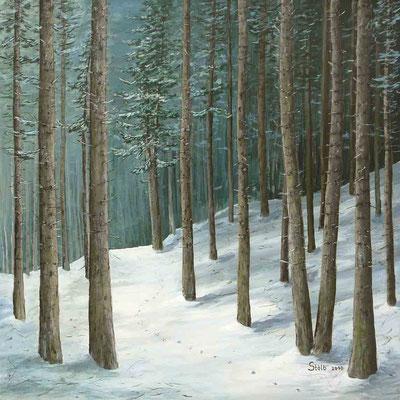 Verschneiter Fichtenwald, 80 x 80 cm, 750 €
