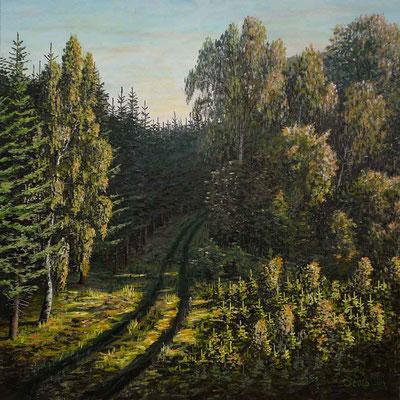 Morgensonne auf einem Waldweg, 75 x 75 cm, 600 €