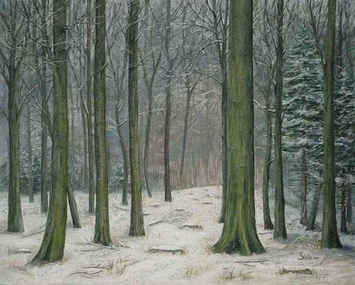 Verschneiter Buchenmischwald, 80 x 100 cm, 800 €