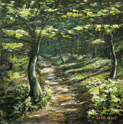 Weg durch hochsommerlichen Laubwald, 30 x 30 cm, 230 €