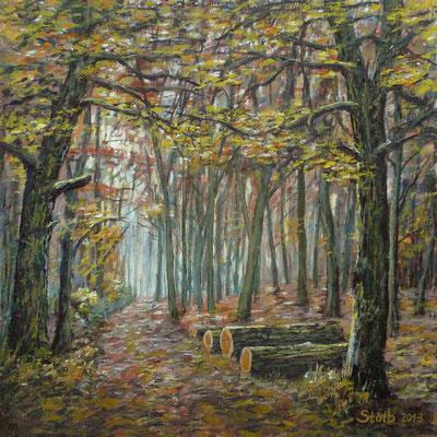 Herbstlicher Eichenwald, 30 x 30 cm, 250 €