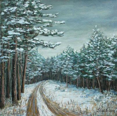 Verschneiter Kiefernwald, 30 x 30 cm, 220 €