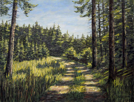 Sonniger Waldweg, 50 x 65 cm, 450 €